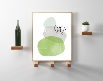 Abstract minimalist art print. Greenery and gray geometric, scandinavian design. Instant download. Printable modern wall art and home decor.