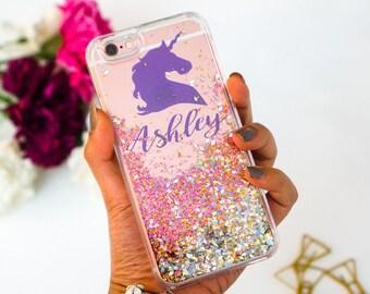 Unicorn Personalized Liquid glitter iphone 6 case glitter iphone 6s case glitter iphone 6 plus case glitter iphone 6s plus case glitter