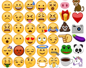 70 Emojis digital photo booth party props instant download