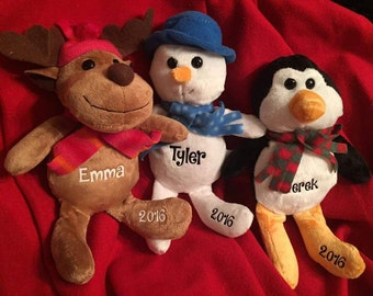 Christmas stuffed animal, personalized Christmas plush, gift for him, gift for her, stocking stuffer, Christmas gift, cute stuffed animal