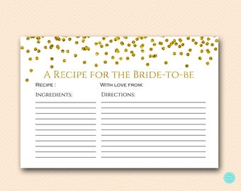 Gold Glam Bridal Shower Recipe Cards, Bridal Shower Recipe, Recipe for the Bride to be, Bridal Shower Activities, Bridal Shower Game BS281