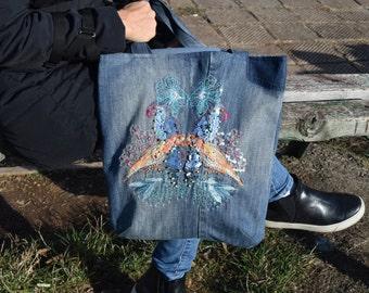 Denim Crossbody Bag, Denim Handbag, Denim Shoulder Bag, Denim Bag with , Boho Beach Bag, Boho Hippie Handbag