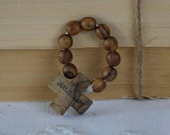 Vintage mini rosary finger - Wood rosary - Olive wood - Jerusalem