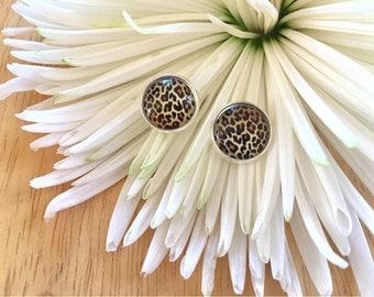 Cheetah earrings, 12mm earrings, sparkle earrings, stud earrings, circle earring, silver earrings, animal print earrings, brown earrings