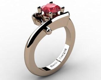 Modern French 14K Rose Gold 1.0 Ct Ruby Diamond Ring R1100-14KRGDR