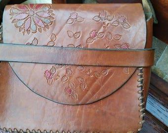 Leather Bag Vintage Saddle Bag with Flowers