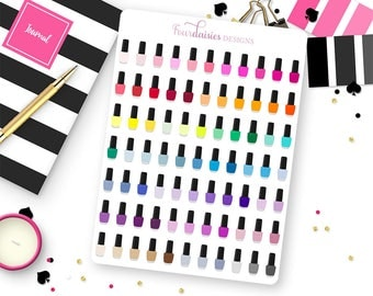 77 Nail Polish Bottle Stickers for Erin Condren Life Planner, Plum Paper, Filofax or Kiki K Planners, Calendars or Scrapbooks