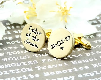 Father of the Groom, NuGold Cufflink, Anniversary Gift, Wedding Gift, Groomsman Gift, Custom Cufflink, boy friend gift, for husband, for him