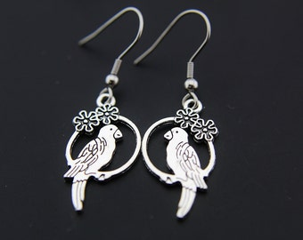 Silver Parrot Charm Dangle Earrings, Pirate Bird Earrings, Parrot Earrings, Parrot Charm, Parrot Pendant, Pirate Earrings, Parrot Jewelry