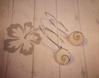 Shiva Shell Drop Earrings on Sterling Silver V Shape Ear Wire