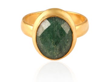 Natural Green Aventurine Adjustable Ring - Gemstone Ring - Gemstone Jewelry - Handmade Jewelry