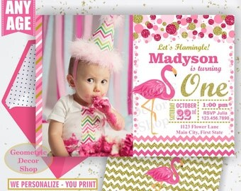 Pink Flamingo Birthday Invitation Girl Gold Invitations Luau Invite Hawaiian Luau Party Invitation Tropical Girls Photo Photograph BDF11