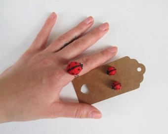 Felted Jewelry, Felted Ladybug, Felted earrings ladybugs, Felted ring ladybug, Jewelry ladybug, Felt jewelry ladybug, Felted jewelry ladybug