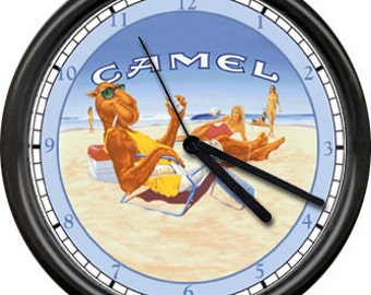 Joe Camel Cigarettes Laying On The Beach Summer Cabin Lake House Sign Wall Clock