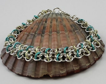 Silver Plated Chainmaille Bracelet, Aquamarine Bracelet, Silver Bracelet, Chainmail Bracelet, Chain Mail Bracelet