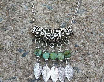 Green Necklace - Gemstone Necklace - Beaded Necklace - Bohemian necklace - gift for her -  Handmade - Nature Inspired - Leaves necklace