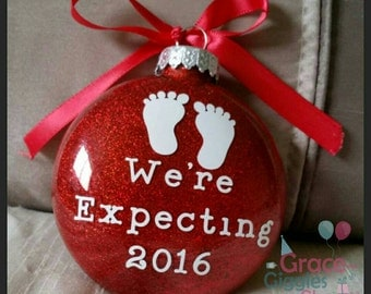 "Personalized ""We're Expecting"" Ornament with Name and Date"