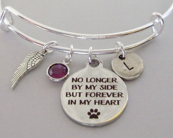 No Longer by My Side  Dog Charm Bracelet W/ Birthstone Drop / INITIAL / Memorial Bangle  / Lost  Of Pet  Bracelet / Gift For Her  P1