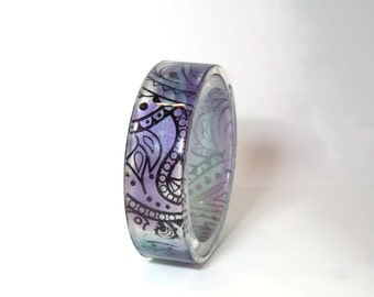 Paisley Resin Bangle - Handpainted Blue and Purple Bracelet