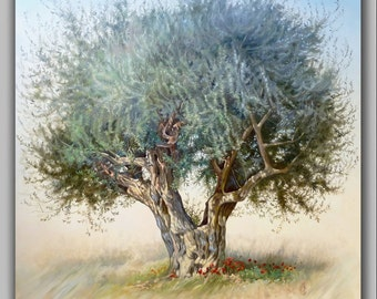 Landscape Olive Tree | Original Oil Painting | Classic Painting on Canvas | Nature Painting | Hand Painted | Realism Art