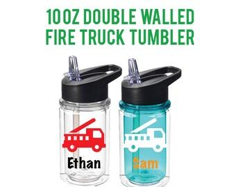 Fire Truck Birthday - Fire Truck Tumbler - Fire Truck Kids Cup - Fire Engine - Fire Truck Party - Party Favors - Preschool Bottle
