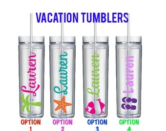 Personalized Vacation Tumblers - Bachelorette Party Tumbler Beach Theme - Girls Weekend - Pool party - Bikini Tumbler - Spring Break Tumbler