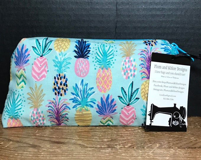 Colorful Pineapple Bag | make-up bag, art supply bag, money bag, cosmetic bag, everything bag, zipper pouch, Plum & Khloe Designs Bag