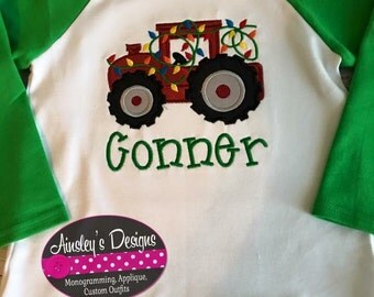 Tractor with lights applique shirt! Or onesie! Or reglan! Personalized in your choice of fonts!