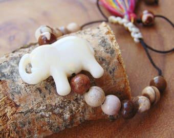 Beaded Bracelet,Elephant Charm Bracelet, Adjustable Bracelet,Elephant Jewelry,Yoga Bracelet,Yoga Jewelry,Safari Jewelry, For Her