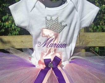 Pink Purple Silver Crown 1st Birthday Baby Girl Personalized Onesie Tutu FREE Hair Bow