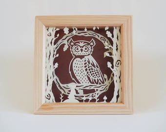 Owl in Woodland Framed Papercut