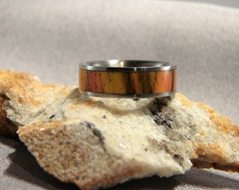 Spalted Tamarind dyed Red and Yellow inlay Titanium ring, Red and Yellow ring, Tamarind wood inlay ring Dyed wood ring