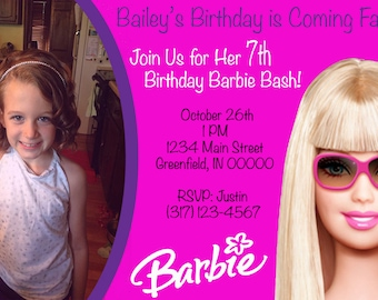 Girl's BARBIE Birthday Invite