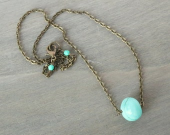 Blue Gemstone Necklace - Simple Necklace, Dainty Necklace, Minimal Necklace, Bronze Necklace, Aqua Necklace, Turquoise Necklace, Gift Idea