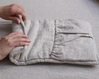 NEW! Transforming travel pillow. Roll up linen pillow, organic wool filled. Road cushion. Travel neck pillow.