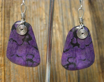 Large Sugilite Earrings on Sterling Silver Leverbacks