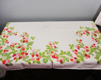 Vintage Rectangular Heavy Linen Tablecloth - Red Strawberries and Green Leaves - Gorgeous - 66 x 50