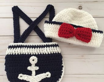 Newborn Nautical Sailor, crochet sailor hat, nautical baby photo prop, sailor photo prop, Baby Sailor, Nautical Baby Shower, Navy Baby