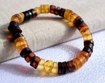 Men and Women Amber Bracelet, Amber bracelet for adults. Adult Baltic Amber Bracelet. Baltic amber multicolor bracelet. Adult amber bracelet