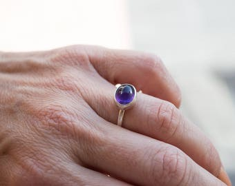 Amethyst ring, Amethyst ring silver, Stacking ring, Gemstone silver ring, Purple stone ring, February birthstone ring,Sterling silver ring