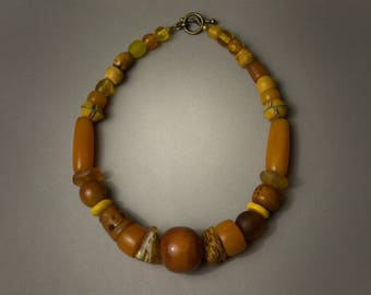 Beaded Necklace with Ancient Stone