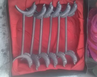 Antique Boxed 6 Pewter Dolphin Knife Rests