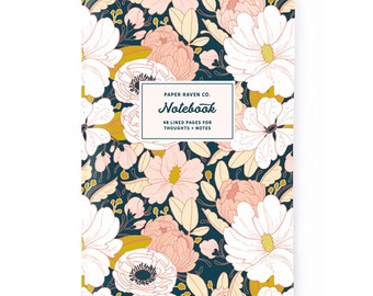 Notebook - Night Floral Notebook - Journal - Daily Jotter - Floral Notebook