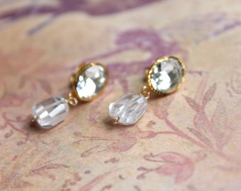 Vintage Hand Made Glass Rhinestone and Faceted Cubic Zirconia Earrings // Wedding Jewelry // Formal Wire Wrapped