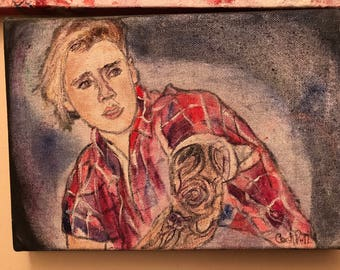 "Justin Bieber, original painting, 10x7"", canvas"