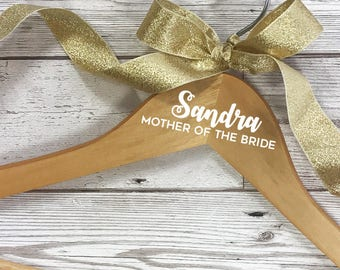 Wooden coat hanger for the Mother of the Bride. Wedding morning thank you gift idea. Wedding dress hanger for your Mothers.