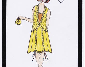 1920s Dress Pattern Charleston Dress Sunflower Dress Solveig - PDF Sewing Pattern Size US12/UK16/DE42
