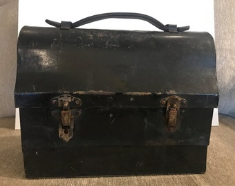 Vintage Metal Lunch Pail with Leather Handle - The Working Mans Lunchbox
