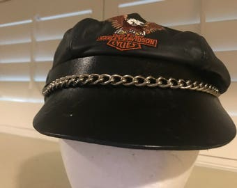 Harley Davidson Leather Motorcycle Cap with a Metal Chain