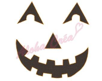 Machine Embroidery Design applique pumpkin halloween face 2 models 3 sizes - Instant Digital Download